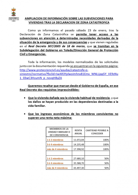 Ampliación de información para solicitantes por daños en viviendas por la Borrasca Filomena 1